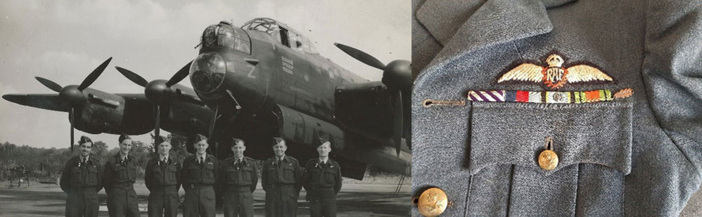 Pictured left: Colin Payne (centre) and his crew in front of their Avro Lancaster. Pictured right: Colin's RAF officers jacket with Wings and Medal Ribbons