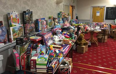 Toys stored at Bryn Masonic Hall.