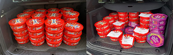 Just two of the car boot loads of sweets for delivery.
