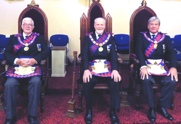Pictured from left to right, are: Past Grand Standard Bearer of Supreme Grand Chapter Ron Corlett. Second Provincial Grand Principal of the Isle of Man Bill Ashton and Third Provincial Grand Principal of the Isle of Man Kevin Birch.