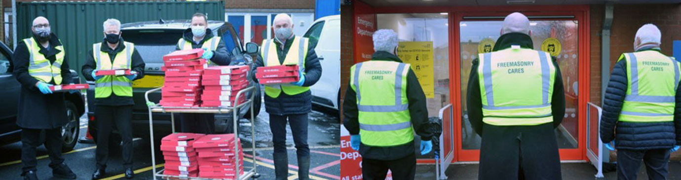 Pictured left, from left to right, are: David Shaw, Peter Schofield, Phil Renney and Richard Wilcock with just over half of the pizzas. Pictured right, from left to right, are: Peter Schofield, David Shaw and Richard Wilcock as they await the return of the trolley!