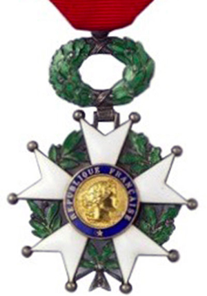 The medal awarded to Les by the Republic of France in recognition of his involvement in the liberation of France during World War II.