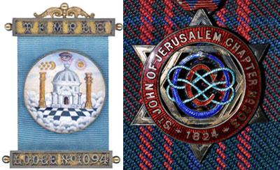 Pictured left: Emblem of Temple Lodge. Pictured right: Emblem of Saint John of Jerusalem Chapter.