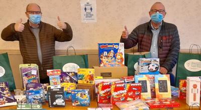 John Gibbon (left) and Neil Pedder sorting the toys