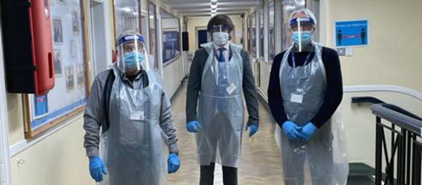Pictured from left to right, are: Mike Cunliffe, Ray Webb and Dr Paul Stapple, suitably attired in their PPE