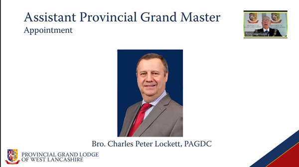 Newly appointed Assistant Provincial Grand Master Peter Locket is officially introduced by Tony.