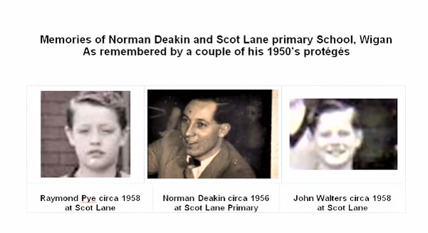 Norman Deakin, centre, in his teaching days, flanked by former pupils Raymond Pye and John Walters.