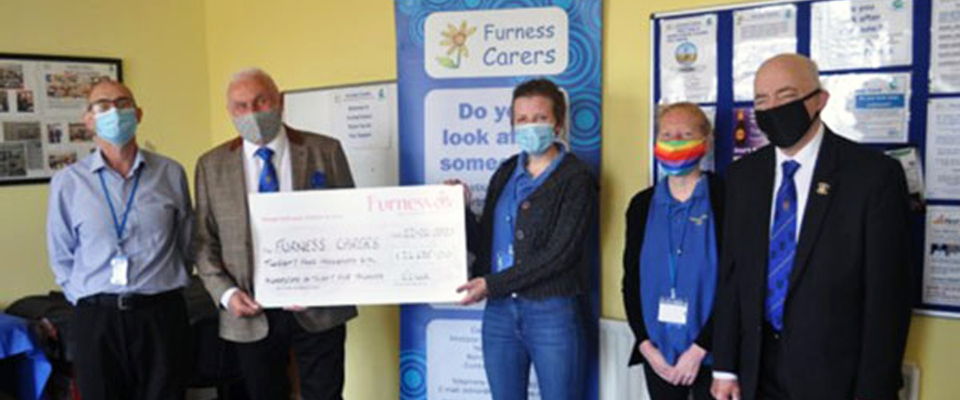 Pictured from left to right, are: Furness Carers CEO Craig Backhouse, Richard Wilcock, Helen, Laura and Joe Crabtree.