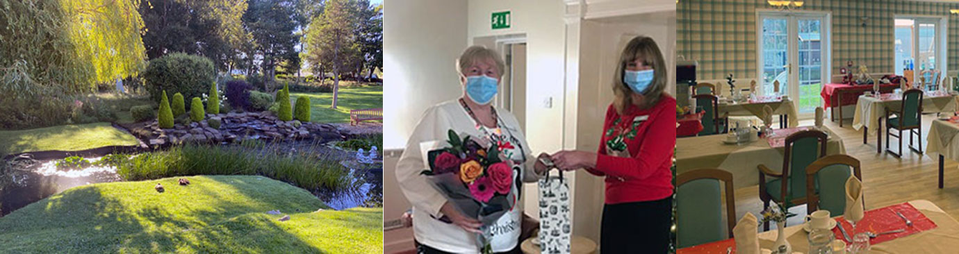 Pictured left: Looking out on the Tithebarn Care Home grounds. Pictured centre: Mary Piet (left) receiving gifts from Linda Johnson. Pictured right: The refurbished Tithebarn Care Home dining room.