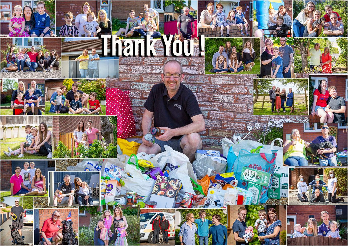 Examples of Jon and Jon's doorstep photos and foodbank donations.