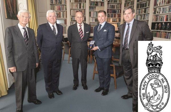 In 2017, members of Navy Lodge present Prince Philip, their most senior member, with a gold Tercentenary Jewel. Inset: Navy Lodge logo.