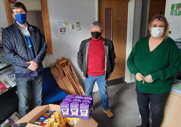 Pictured from left to right, are: Andy Sumner, John Anderson and Joan Musker, Wade Hall Community Centre Coordinator with eggs that have been delivered and ready for distribution.
