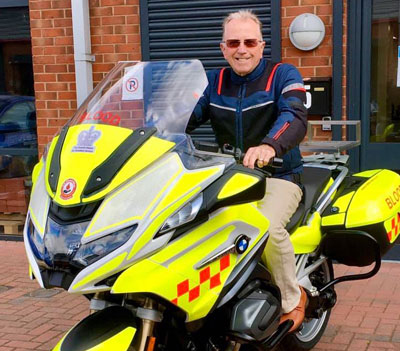 Terry Derbyshire sits proudly astride the new arrival.