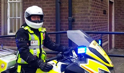 Blood Biker, Colette Falloon, will ride the new BMW into the formal presentation.