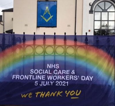 NHS flag erected at Hindley.