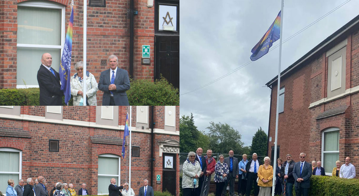 Top left: Ron Pearson (left) unveils NHS flag with John Selley (right). Bottom left: Flag raising at Bryn. Right: Two minutes silence.