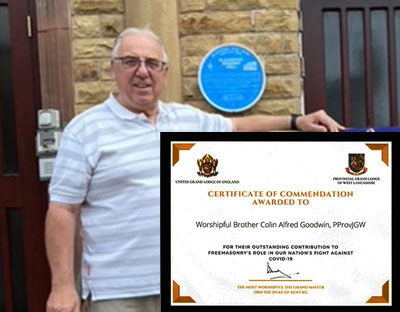 Colin Goodwin. Inset: The Certificate of Commendation from United Grand Lodge of England.