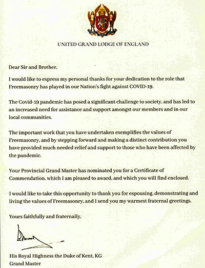 The letter to Colin from His Royal Highness the Duke of Kent.