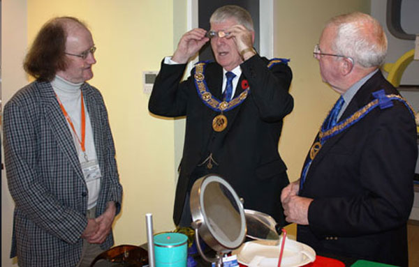 Testing some advanced eyewear. Pictured from left to right, are: volunteer Patrick White, Tony Harrison and Keith Kemp.