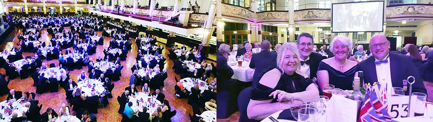 Pictured left: The Gala Ball at Blackpool. Pictured right: Dave Bishop and Andy Sumner enjoy the evening with their wives.